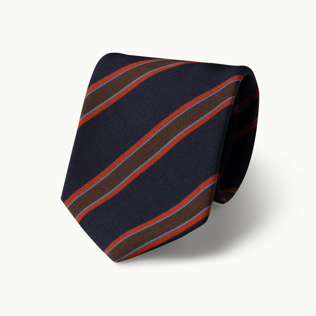 Navy orange club stripe Irish Poplin tie
