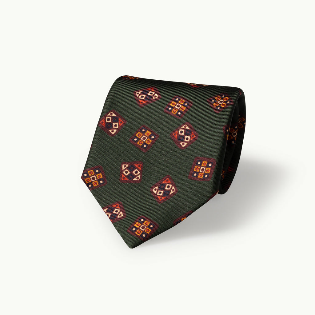 Green tile print silk tie