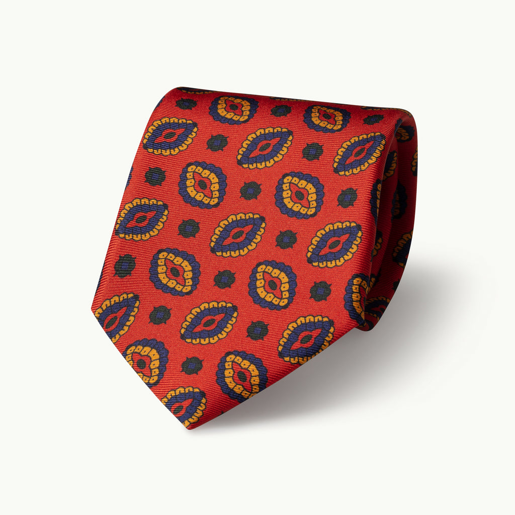 Orange oval printed silk tie