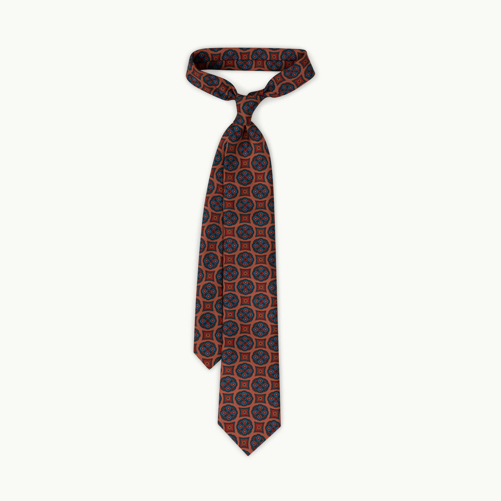 Rust medallion madder tie