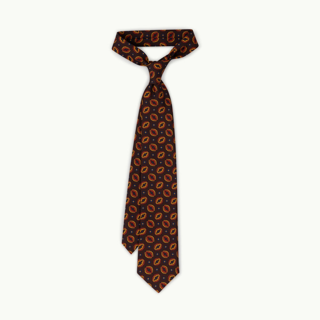 Brown oval print silk tie