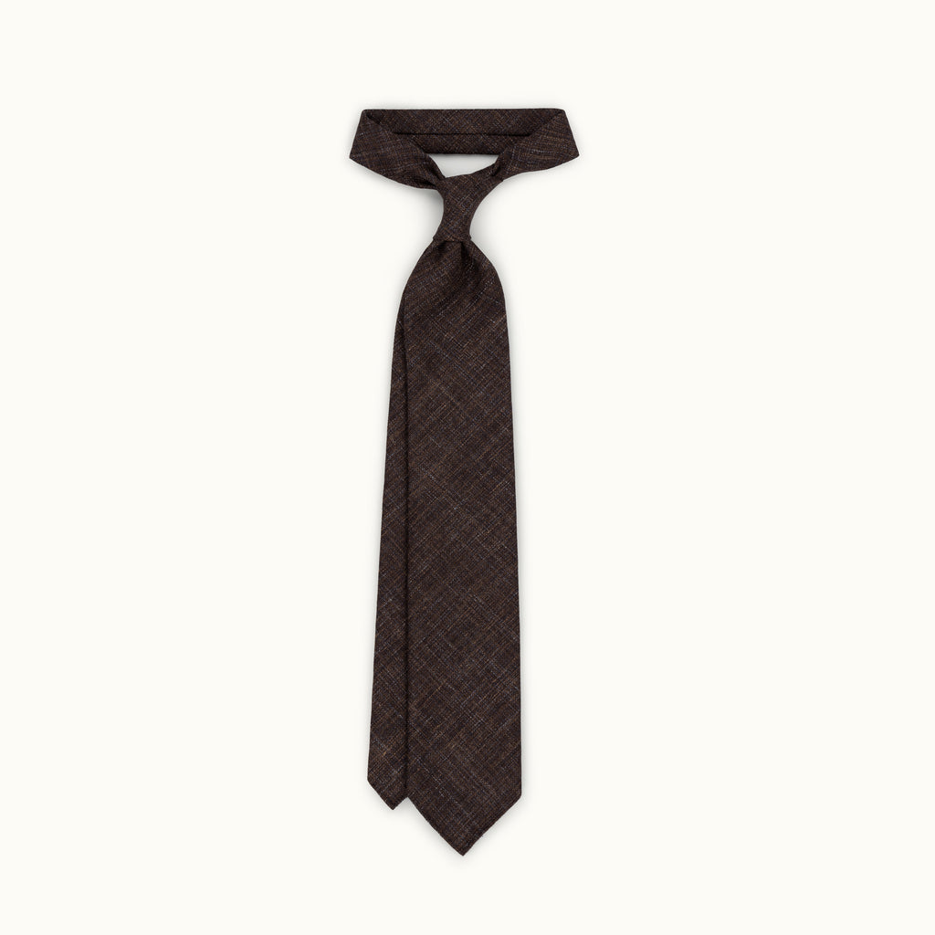 Dark Brown Melange Wool, Linen & Silk Tie