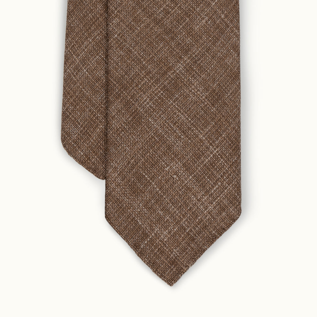 Light Brown Melange Wool, Linen & Silk Tie