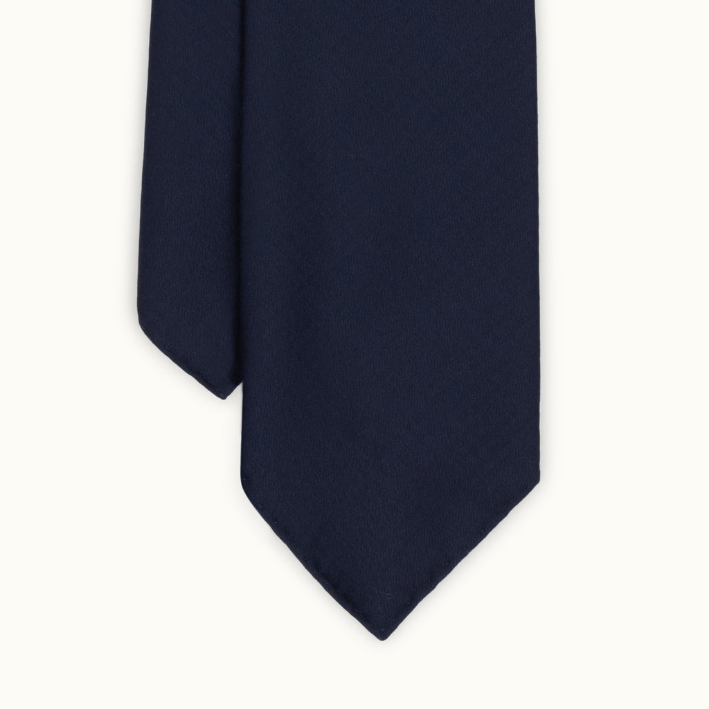 Navy Shadow Houndstooth Wool Tie