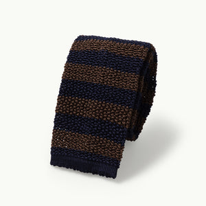 Navy & Brown Striped Knitted Tie