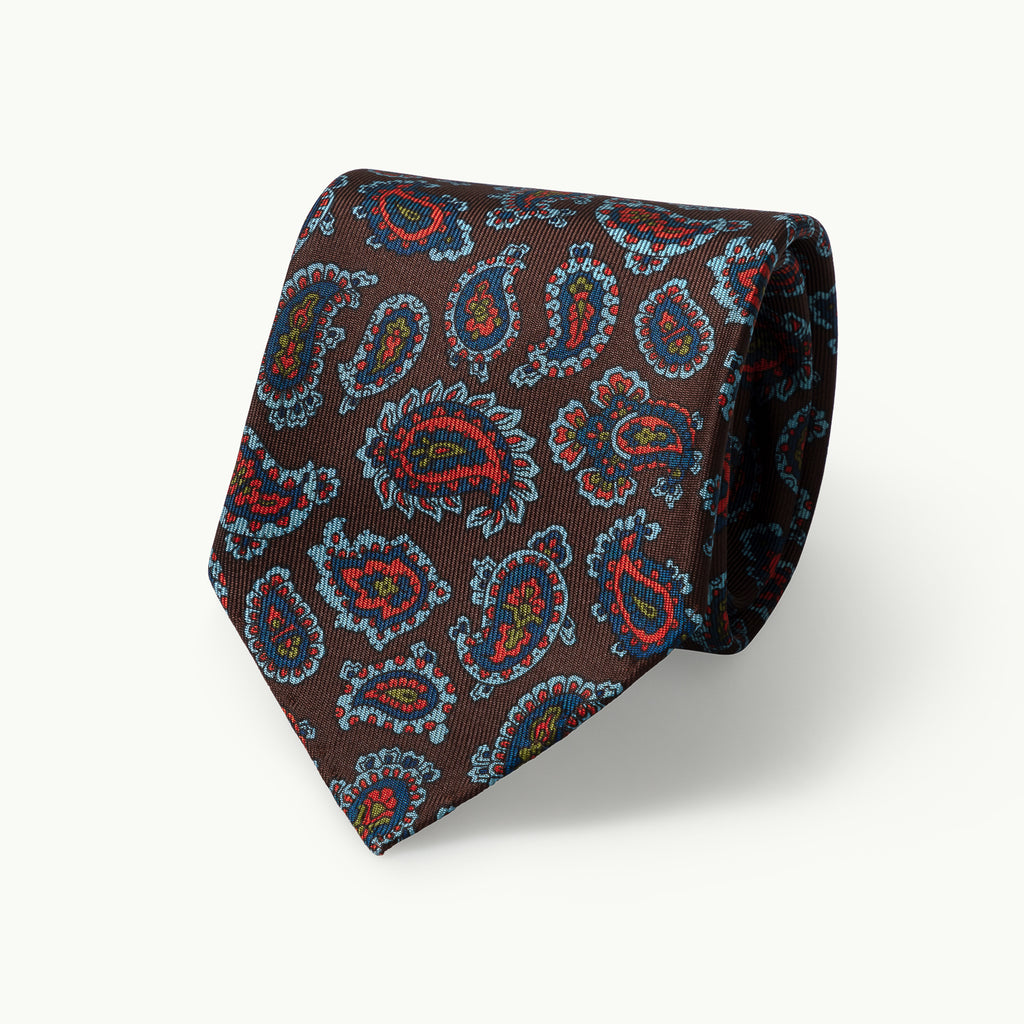 Brown Paisley Archive Print 36oz Silk Tie