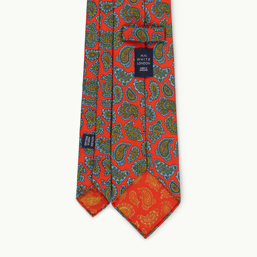 Orange Paisley Archive Print 36oz Silk Tie