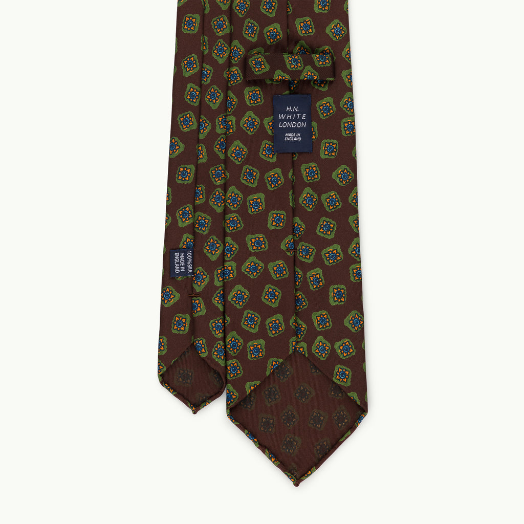 Brown 36oz Archive Tile Print Silk Tie