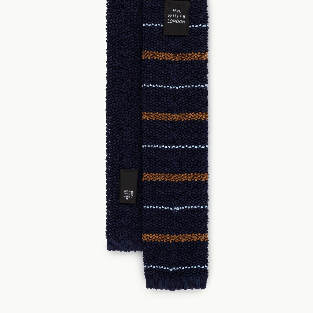 Navy Brown Stripe Knitted Tie