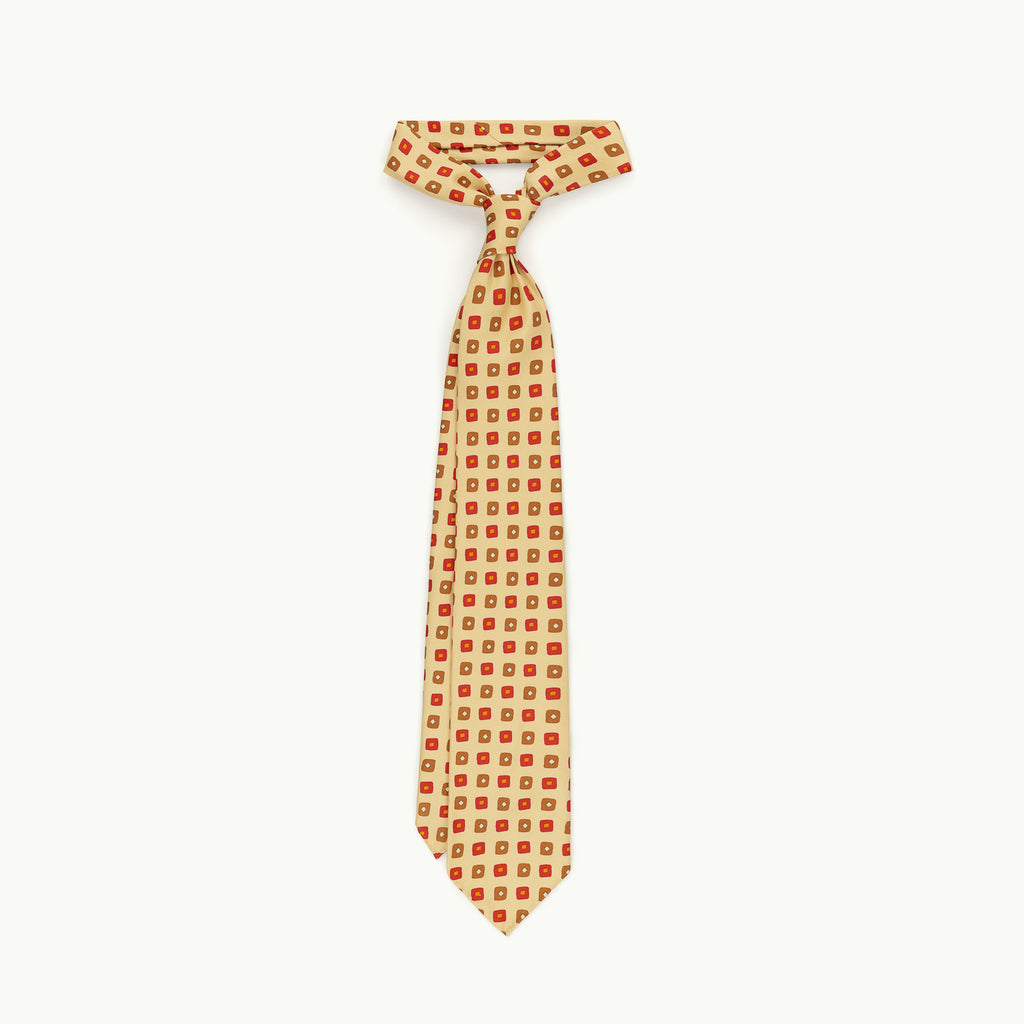 Buff, Red & Copper Print Tie