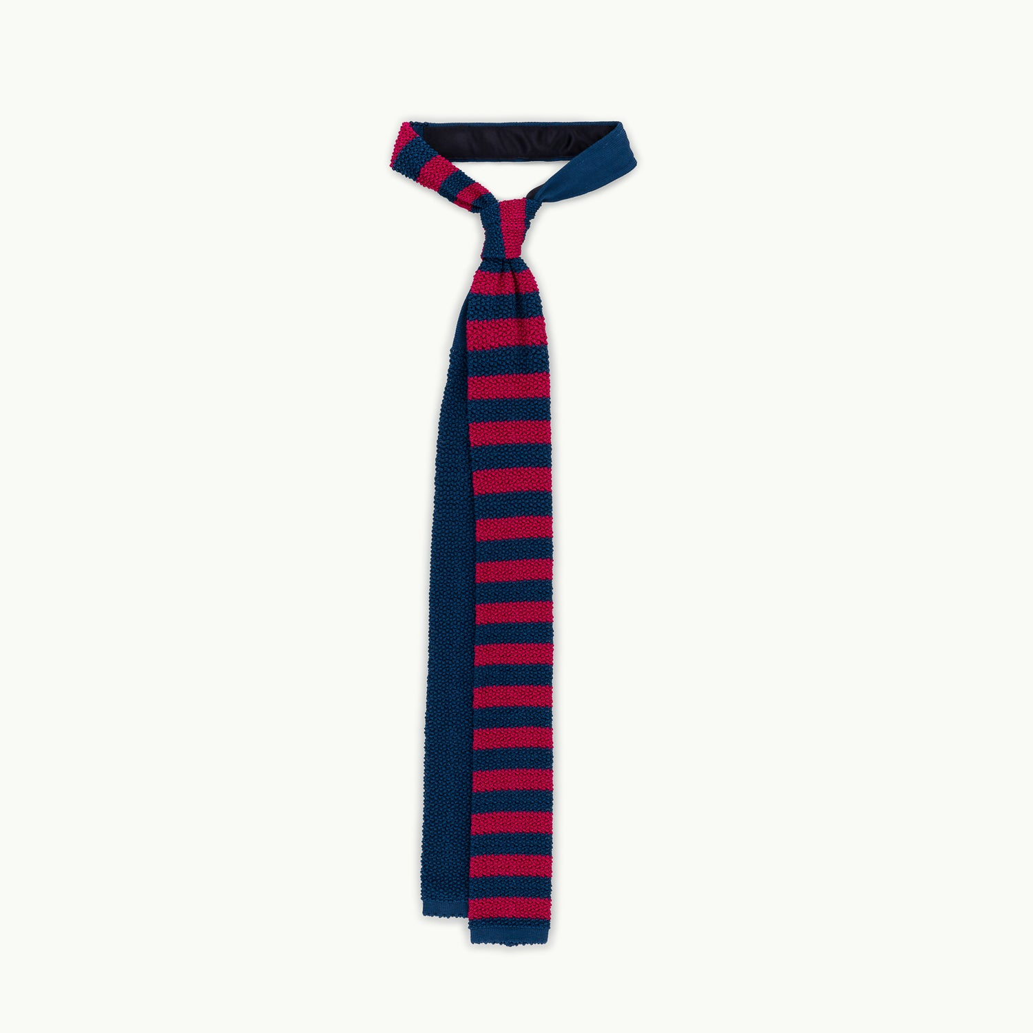 Blue & Pink Block Stripe Knitted Tie