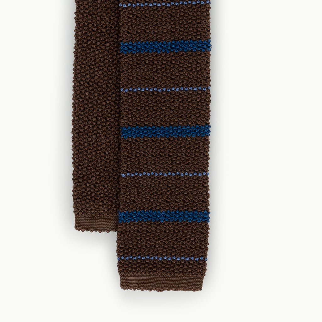 Brown Blue Stripe Knitted Tie