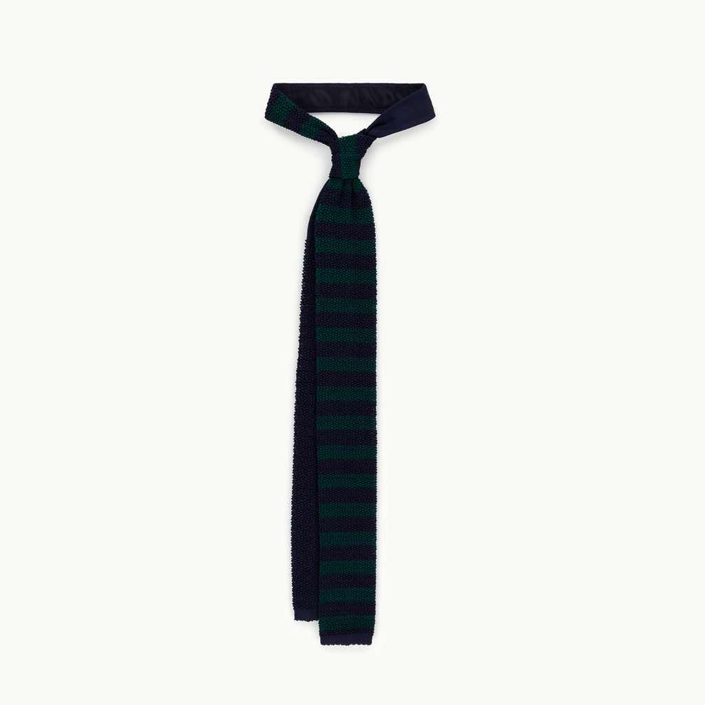 Navy & Green Block Stripe Knitted Tie