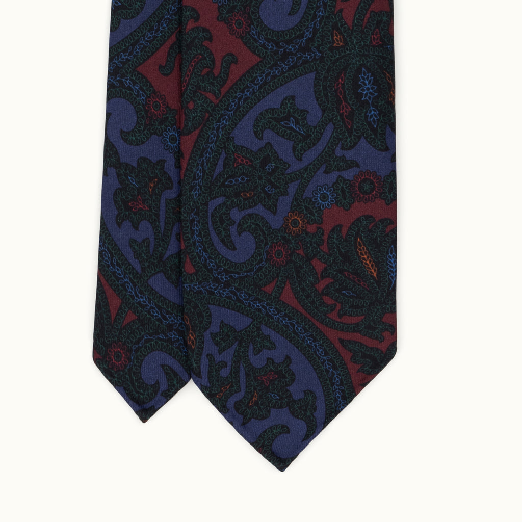 Blueberry Exploded Paisley Madder Silk Tie