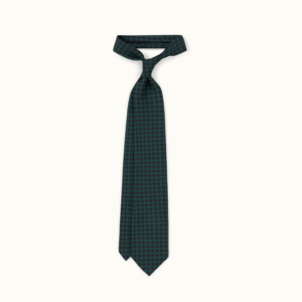 Green Tumbling Squares Madder Silk Tie