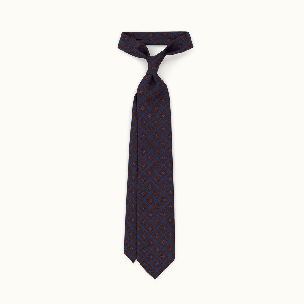 Navy Diamond Madder Silk Tie