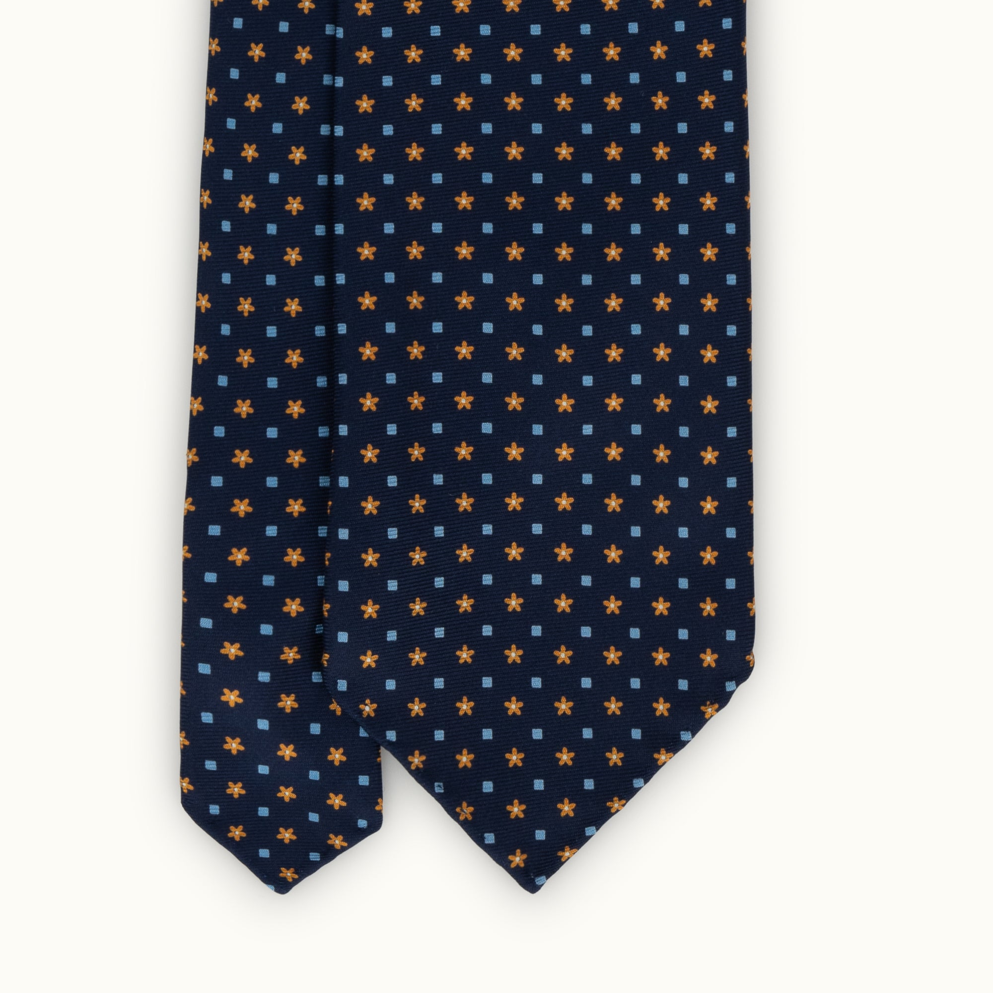 Navy Orange Neat Silk Print Tie