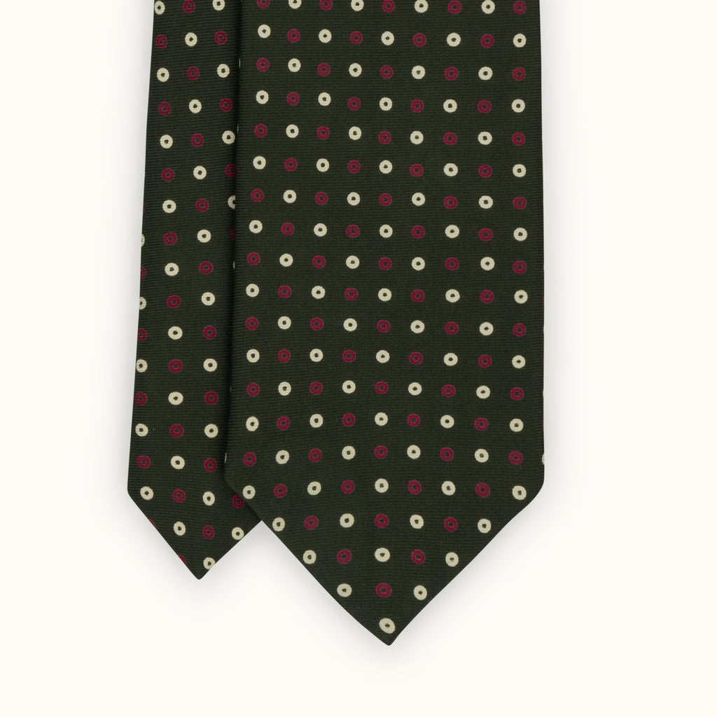 Handrolled Olive Neat Silk Print Tie
