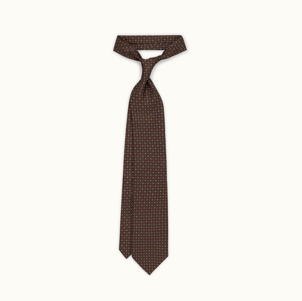 Brown Neat Silk Print Tie