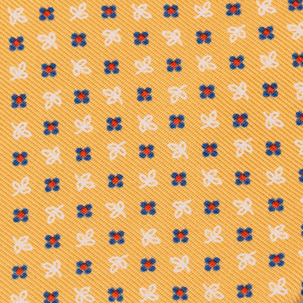 Yellow Neat Silk Print Tie