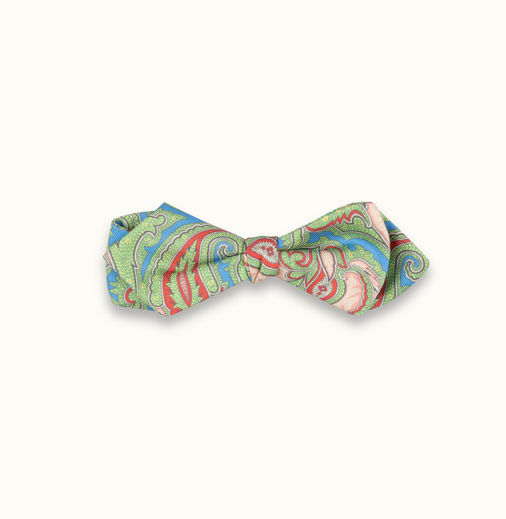 Light Blue Paisley Silk Print Bow Tie