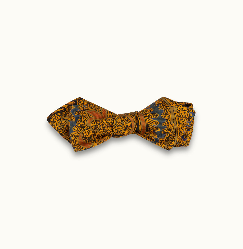 Teal & Gold Paisley Silk Print Bow Tie
