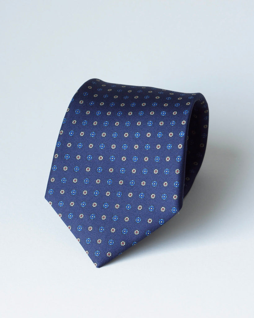 Navy blue micro red/blue floral print tie
