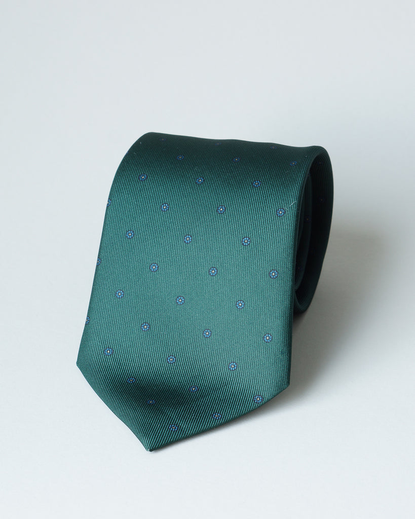 Green micro floral print tie