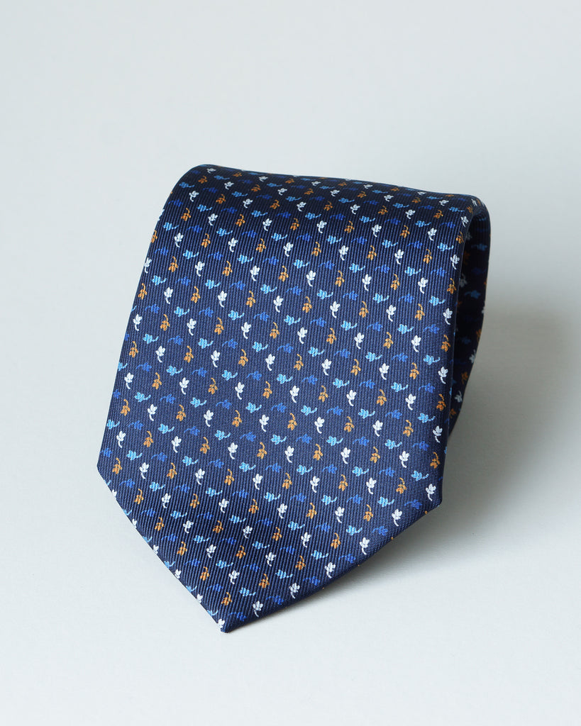 Navy blue mini floral print tie