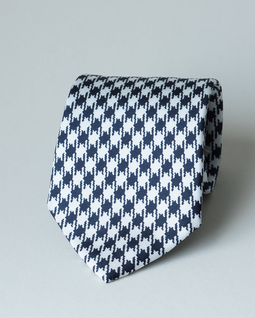 Navy & white large houndstooth print tie