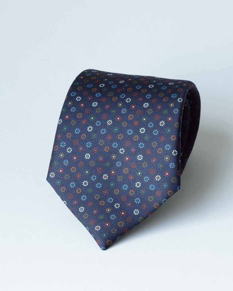 Navy blue multicolour floral print tie