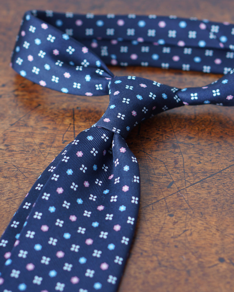Navy blue, sky and pink floral print tie