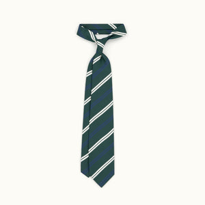 Green Club Stripe Irish Poplin Tie