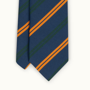 Navy Club Stripe Irish Poplin Tie