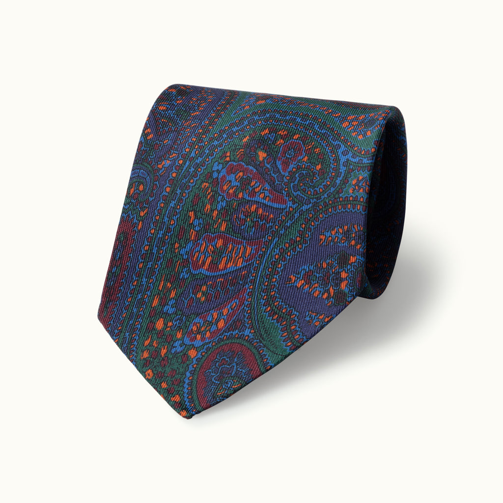 Green Paisley Madder Tie