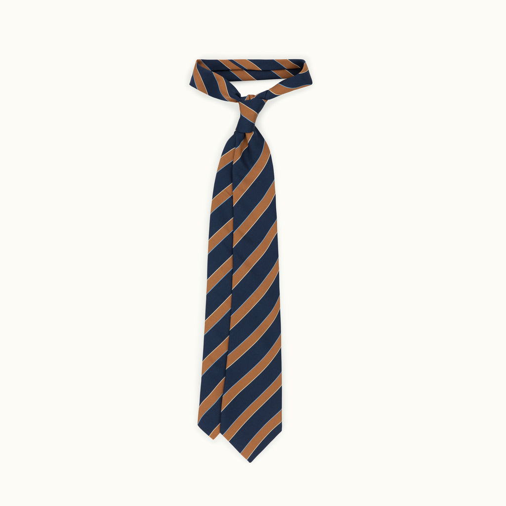 Navy, Camel & Sky Stripe Irish Poplin Tie