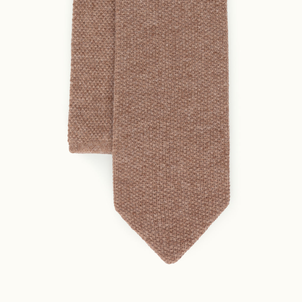 Dark Biscuit Cashmere Knit Tie