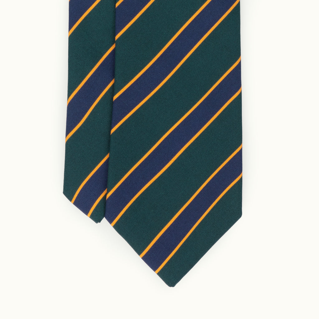 Green, Blue & Yellow Club Stripe Irish Poplin Tie