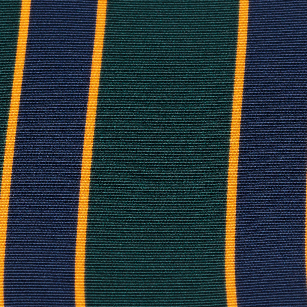 Navy, Blue & Yellow Club Stripe Irish Poplin Tie