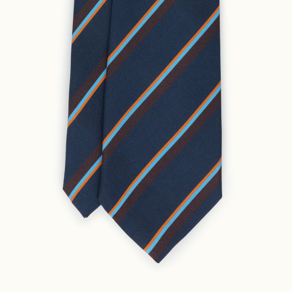 Navy, Orange & Sky Club Stripe Irish Poplin Tie