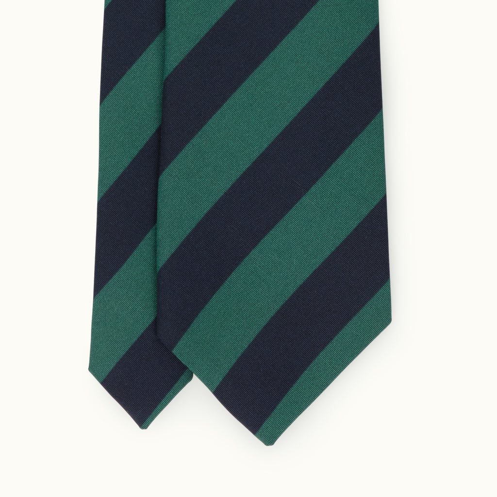 Navy & Green Block Stripe Irish Poplin Tie