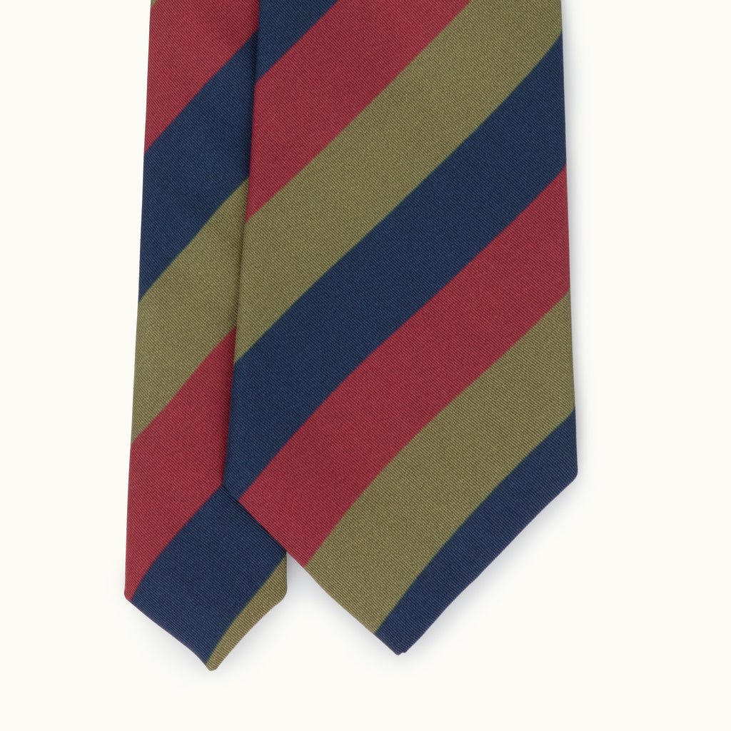 Navy, Olive & Red 'Royal Scots' Stripe Irish Poplin Tie