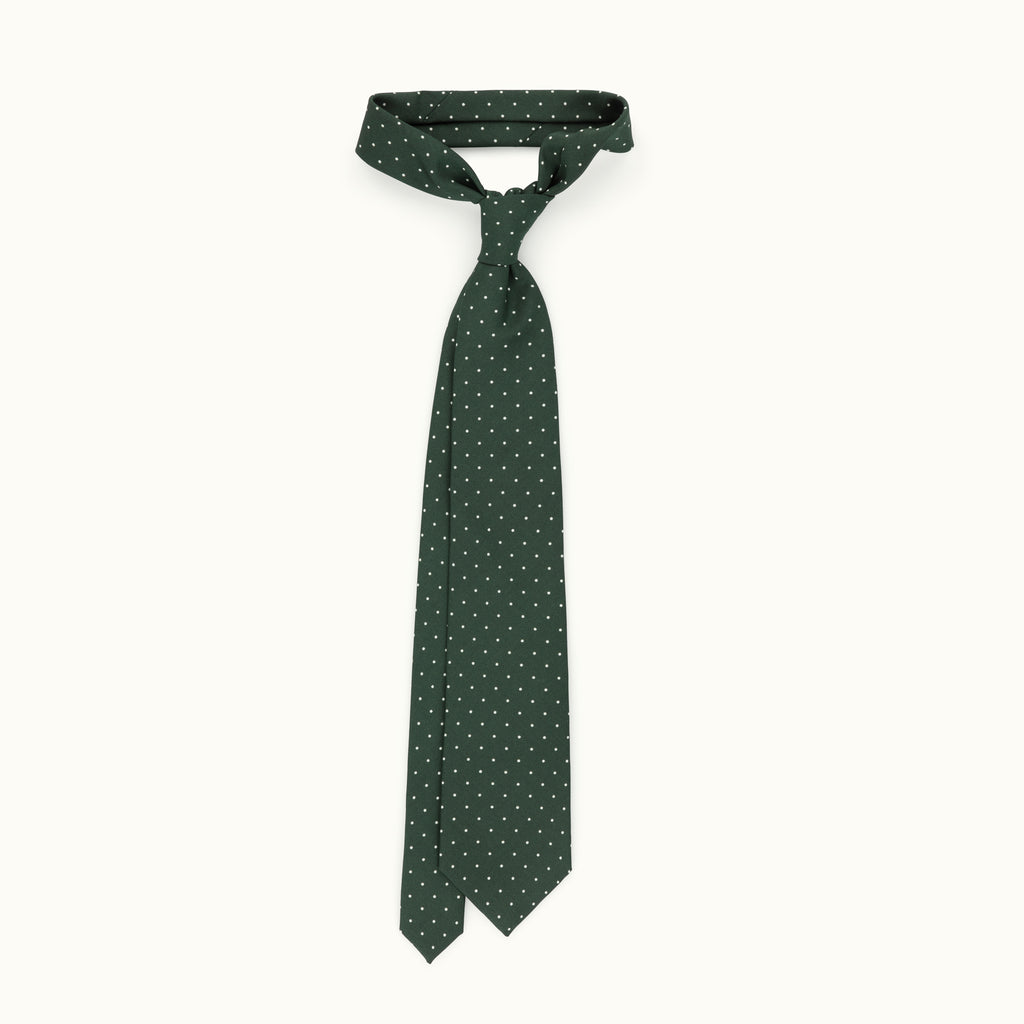 Green & White Spot Irish Poplin Tie