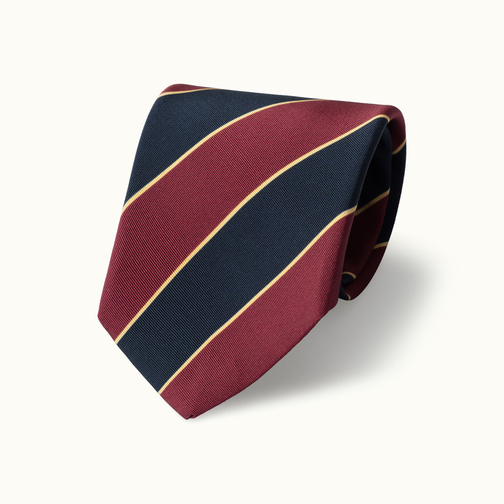 Burgundy, Navy & Ecru Stripe Irish Poplin Tie