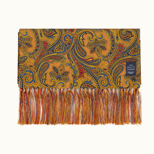 Gold Exploded Paisley Ancient Madder Silk Scarf