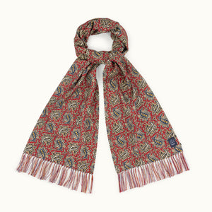 Red & Buff Paisley Ancient Madder Silk Scarf