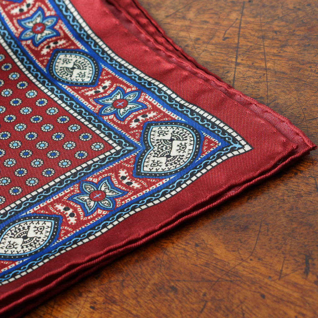 Burgundy neat Macclesfield neat silk pocket square