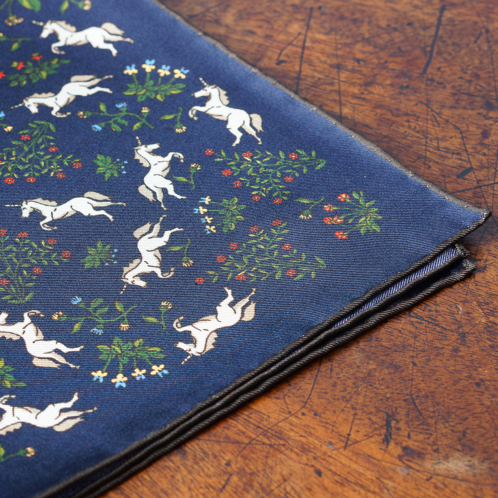 Navy & brown unicorn print silk pocket square