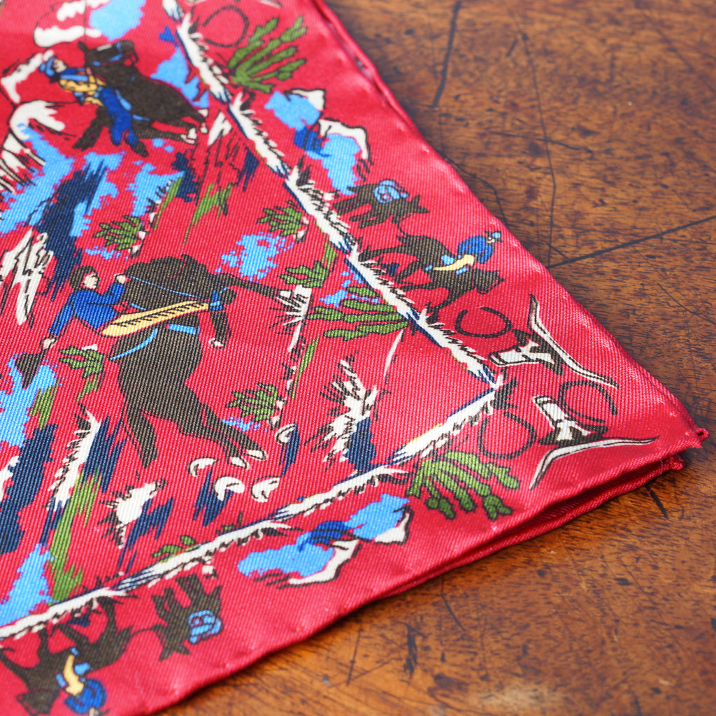 Red cowboy print silk pocket square