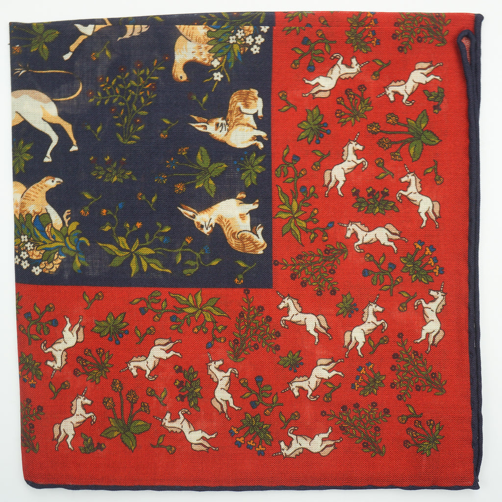 Orange unicorn print wool/silk pocket square